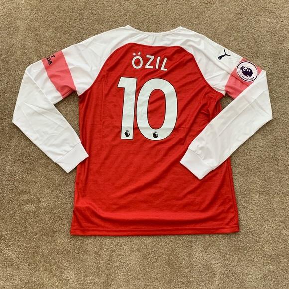 b1c9f9842 Arsenal Home L. Sleeve 18 19 Jersey OZIL  10